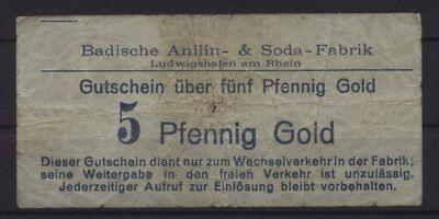 [20339] - GOLD-NOTGELD LUDWIGSHAFEN, Badische Anilin- & Sodafabrik (BASF), 5 Pfe