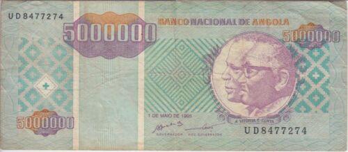 Angola Banknote P. 143-7274 5 Million Kwanzas Reajustados 1995, Prefix UD, F