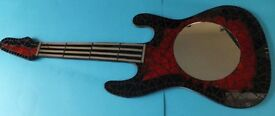REDUCED - Black and red mosaic guitar mirror