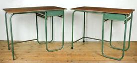 Tubular steel desks x 2 by Biddulph Industries, Wales. Industrial vintage
