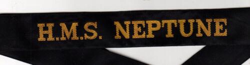 British Navy Ship Tally HMS NEPTUNE hat insignia badge