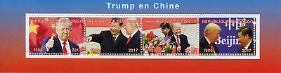 Congo 2017 CTO Donald Trump in China Xi Jinping 4v M/S US Presidents Stamps
