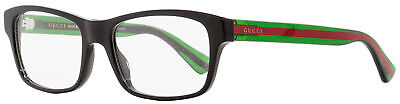 Gucci Rectangular Eyeglasses GG0006O 006 Black/Green/Red 55mm (Red Gucci Eyeglasses)
