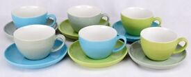 COFFEE CUP & SAUCER Set (Box of 6) Grey/Blue/Green Ideal for Catering