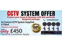 4 Cameras CCTV Kit, 8CH 960H 1TB DVR, 4x 900TVL Cameras - SUPPLIED & FITTED