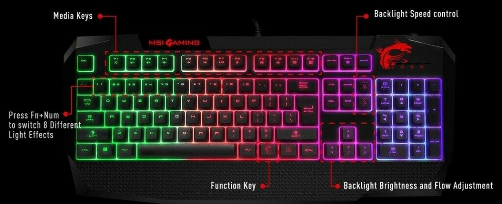 f06c6437465 MSI Vigor GK40 Gaming Keyboard RBG Mechanical Feel | in Liverpool ...