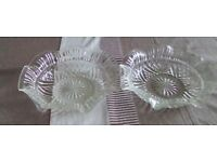 Two matching round etched glass dishes,size 9.5ins.Have fluted rims.Possibly cut glass.