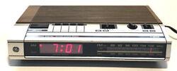 Vintage GE Alarm Clock Radio 7-4634B Digital AM FM Red LED Woodgrain Works Great