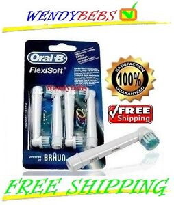 4 GENUINE ORAL-B TOOTHBRUSH HEADS BRAUN FLEXISOFT EB17-4 FREE SHIPPING!!!