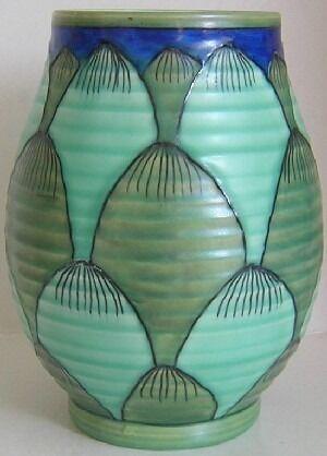 Crown Ducal Pottery Charlotte Rhead Rare Turin Pattern 2691 Vase