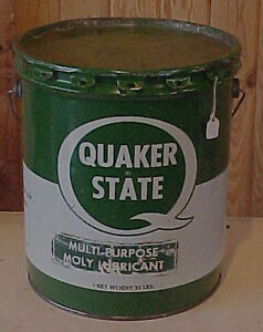 1970s QUAKER STATE Oil Refining 35 Lbs Tin Can Bucket