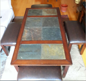 Coffee table w/ nesting stools - made of solid wood and marble