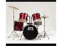 Session pro drum kit set red bass tom cymbal stool snare hi-hat percussion music
