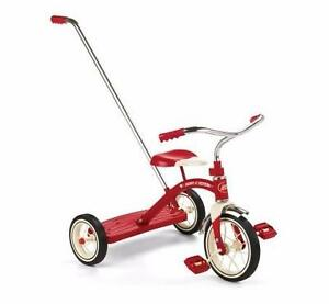 2- 4 Ages bike CLASSIC RED TRICYCLE WITH PUSH HANDLE Radio Flyer Classic Red Trike