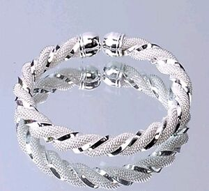 Fashion Jewelry Free P&P Wholesale Solid silver Mesh Cuff Silver Bracelet S925