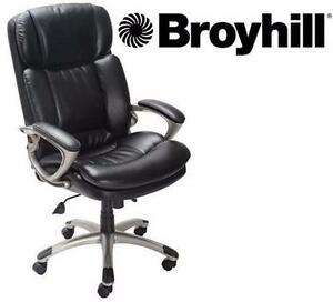 NEW* BROYHILL EXECUTIVE CHAIR BONDED LEATHER - BLACK - HOLDS UP TO 350 LBS - BIG & TALL OFFICE FURNITURE 92406710
