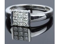 MAGNIFICENT 18CT WHITE GOLD 0.9ct DIAMOND CLUSTER RING