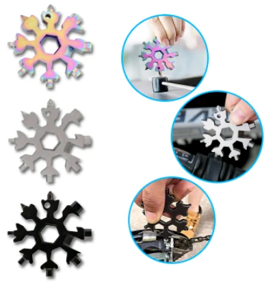 3PCS 18-in-1 Portable Snowflake Multi-tool Wrench Screwdriver Key Chain Keychain