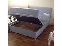 LUXURY GREY OTTOMAN STORAGE BED