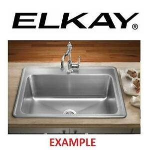 "NEW* ELKAY DROP IN KITCHEN SINK - 122764336 - GOURMET CELEBRITY STAINLESS STEEL 31"""