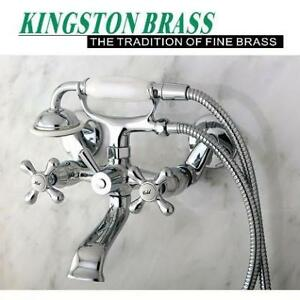 """NEW TUB/SHOWER FAUCET KS266C 140147805 KINGSTON BRASS WALL MOUNT VICTORIA 3"""" TO 9"""" POLISHED CHROME"""