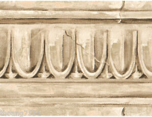Architectural crown molding moulding faux stone egg dart cream wall paper border - Crown molding wallpaper ...