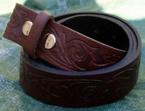 Brown embossed Flowered Snap On Full Grain Leather Belt, X Large