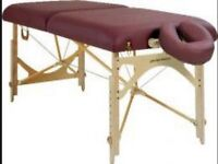 Portable Massage couch with reclinable back and adjustable height