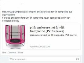 For sale enclosure ONLY for plum 6ft trampoline never been used still in box (NO TRAMPOLINE)