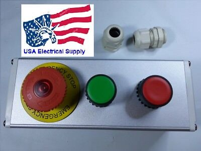 Nc Emergency Stop No Red Green Momentary Push Button Switch Station 110-250v