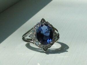 Ladies Blue Iolite Gemstone Ring - Sterling Silver Setting,8 1/2
