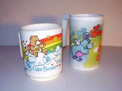Vintage 1983 Care Bears DEKA American Greetings Cup & 1985 Wuzzles Aladdin Cup
