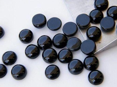 Wholesale Lot Natural Black Onyx 6X6 mm Round Cabochon Loose Gemstone Y-26