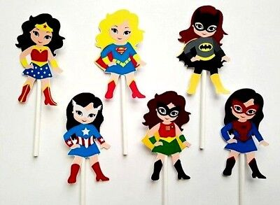 Superhero Female Girls Women Double-Sided Cake/Cupcake Toppers Set Of 6
