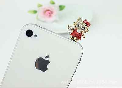Cat Red Hello Kitty Crystal Cell Phone Ear Cap Charm IPhone&Smart Phone 3.5mm