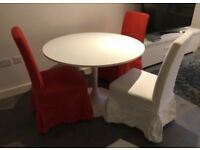 IKEA DOCKSTA WHITE DINING TABLE & 3 HENRIKSDAL CHAIRS