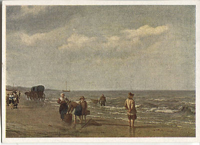 Alte Kunstpostkarte - Adriaen van der Velde - Strand von Scheveningen