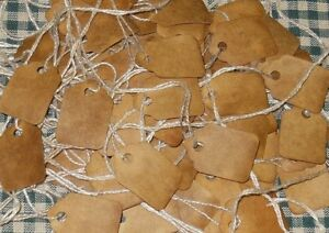 100 ~ TINY blank pRiMiTiVe COFFEE STAINED HANG TAGS price LOT
