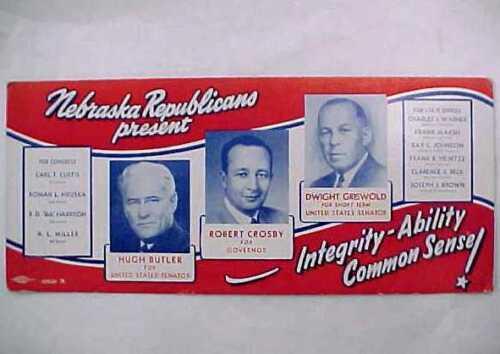 1952 Nebraska Campaign Ink Blotter - Governor Crosby Griswold - Sen. Butler