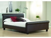 BRAND NEW FAUX LEATHER DARK BROWN DOUBLE BED (4FT6)