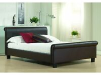Brand New Faux Leather Sleigh Bed - Dark Brown (4FT6 Double)