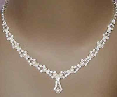 Set Halskette Collier Ohrringe Strass Perlen Brautschmuck Hochzeitsschmuck weiss