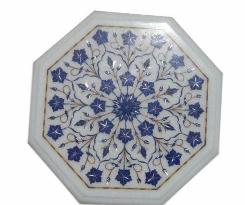 Marble Side Coffee Table Top Mosaic Inlay Marquetry Lapis Living Art Decor