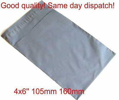 2000 x Grey poly Plastic Mailing Bags 120 x 170 mm 4x6 4 x 6 small jewellery