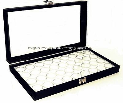 6 Glass Top Lid White 36 Jar Cases Display Gems Box Body Jewelry Gold Nugget