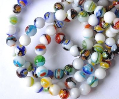8mm Millefiori Glass - Free Ship Mixed Color Millefiori Glass Loose Beads 4MM 6MM 8MM 10MM 12MM SH256