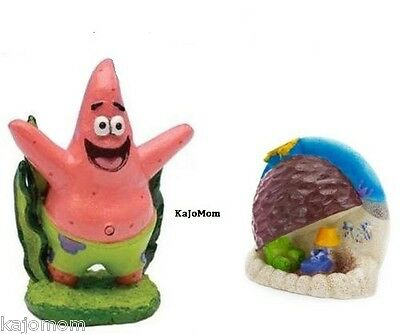 Spongebob Show Patrick Aquarium Decoration Ornament & Patrick's Rock Fish Tank