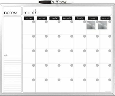 Board 16x20 Inches Aluminum Framed Magnetic Dry Erase Calendar With A Marker