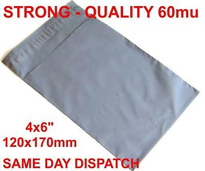 1000 x Grey poly Plastic Mailing Bags 120 x 170 mm 5x7 5 x 7 small jewellery