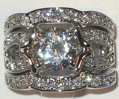 - Majestic Antique 3.20 CT Cubic Zirconia Platinum Bridal Wedding Ring Set- SIZE 7
